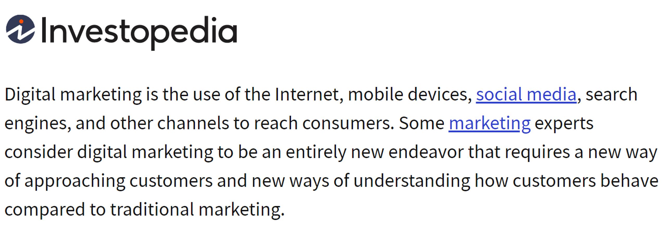 دیجیتال مارکتینگ |investopedia